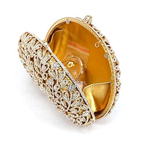 Del Oro Cristal Femenino De A F Flor Partido Noche Bolso Zmyz Bandolera La Tarde Rhinestone Boda Embrague gqxHwCpw7