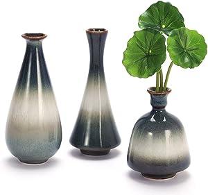 Small Ceramic Flower Vases Set of 3, Art Fambe Glaze Porcelain Vases Set, Decorative Vase for Home Decor Living Room Desk Classic Vase (Fambe Glaze Porcelain Set)