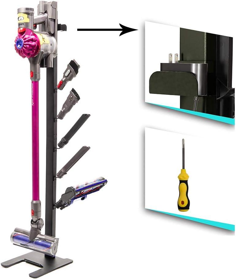 ismartmoon Drill-Free Floor Storage Stand Docking Station Bracket Holder for Dyson V11 V10 V8 V7 V6 Handheld Cordless Vacuum Stick Cleaners & Accessories,Stable Metal Organizer Rack (Black Upgrade)