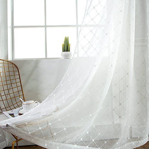 NICETOWN Diamond Sheer Window Curtains Linen Look Texture Voile Panel Drapes with Rod Pocket Top for Bedroom by, Off White, W55 X L84, Pack of 2 Review