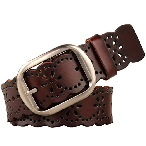 JasGood Women's Hollow Flower Genuine Cowhide Leather Belt With Alloy Buckle (Dark Brown)