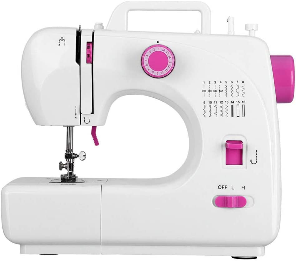 lxfy Máquina de coser eléctrica de 2 velocidades 16 puntos, máquina de coser de doble hilo, mini máquina de coser portátil