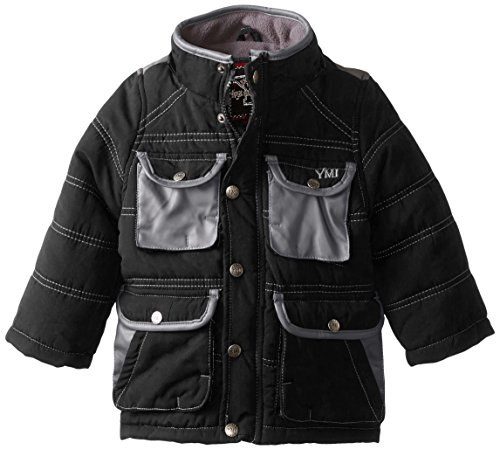 Boys' with Pleather Hood Contrasting Jacket Black YMI Detachable and Pockets Bubble pCRw6ndq