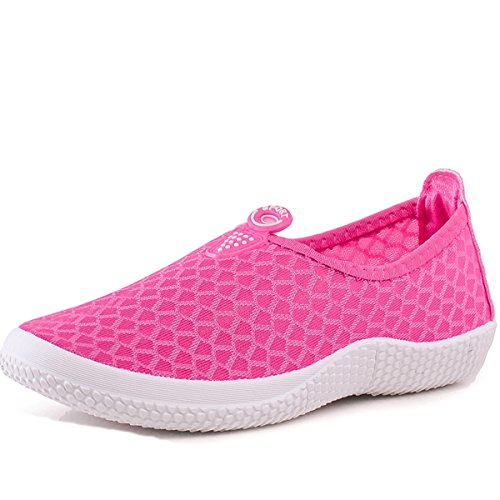 Net Casual Shoes Slip Ladies Shoes VECJUNIA Rose Red Loafer On Flats 0BYqw