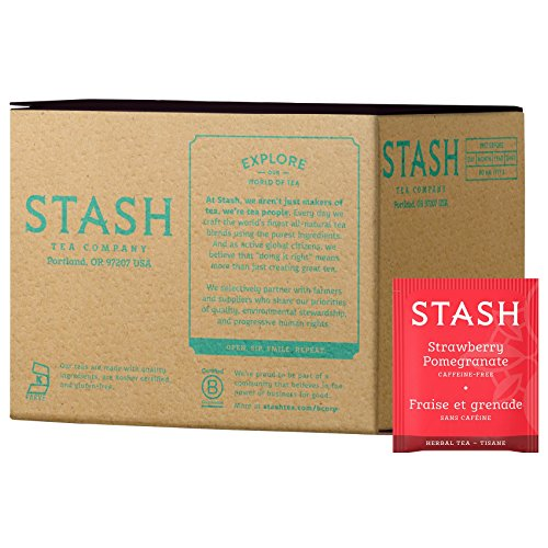 (Stash Tea Strawberry Pomegranate Red Herbal Tea 100 Tea Bags in Foil (packaging may vary) Individual Herbal Tea Bags for Use in Teapots Mugs or Cups, Brew Hot Tea or Iced Tea)