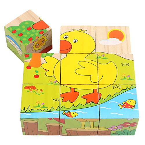 Educational Preschool Wooden Cube Block Jigsaw Puzzle,6 in 1 Wooden Puzzles Farm Animal Pieces,Dog, Rabbit, Cow, Sheep, Duck, Chicken,Gift Toy for Age 3 4 5 Year Old and up Toddler Kid Baby