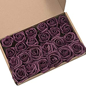 Ling's moment Artificial Flowers 2 inch Plum Artificial Roses and Rose Buds Pack of 24 for DIY Wedding Bouquet Boutonniere Corsage Floral Decor 3