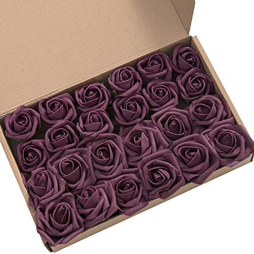 Ling's moment Artificial Flowers 2 inch Plum Artificial Roses and Rose Buds Pack of 24 for DIY Wedding Bouquet Boutonniere Corsage Floral Decor