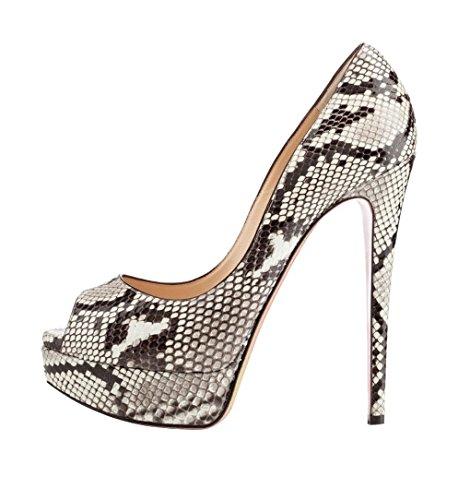 14cm Toe Peep Soireelady Court High Stilettos Womens Python Platform Heel Slip Shoes On Pumps qBxwTZ6w