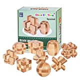 Once ZY Time Puzzles Wooden Puzzles Games Burr Puzzles Jigsaw Lock 3D Handmade Brain Teaser Intellectual Educational Toys for Kids Adults Mini Size 9pcs/Set