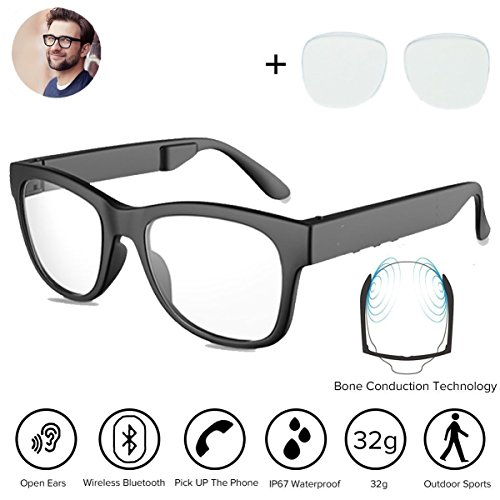 Bone Conduction Bluetooh4.1 Headphones Glasses Polarized Sunglasses Waterproof Wireless Music MP3 Player Headset HandFree Earphones for SmartPhones Iphone HTC LG Samsung Android Windows (Blue Ray)