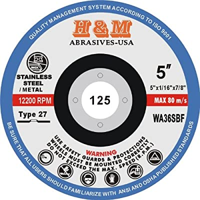 "5"" x 1/16"" x 7/8"" CUT-OFF WHEELS for Stainless Steel &.Metal Cutting Disc Type 27 ( 25 PACK )"
