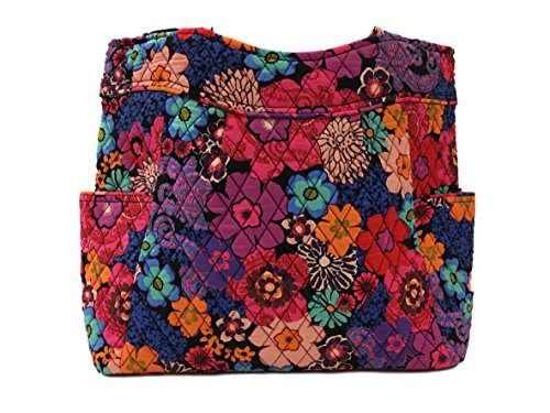 Vera Bradley Pleated Tote Zip Top Bag (Floral - Top Purse Tote Zip