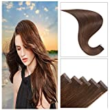 Bleaching Skin Every Week - TOFAFA 16 Inch Tape On Hair Extensions Colored #4 Medium Brown Skin Weft Double Sided Tape In Extensions Remy Human Hair 20Pieces 40g/Pack