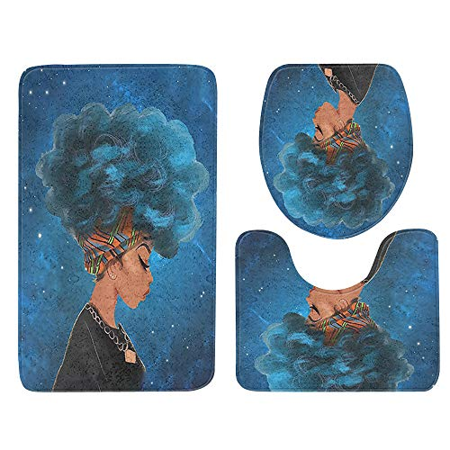 USLovee3000 Clearance African Women With Purple Hair Skidproof Toilet Seat Cover Bath Mat Lid Cover E