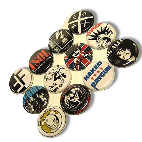 "(Custom & Novelty {1"" Inch} 12 Bulk Pack, Mid-Size Button Pin-Back Badges for Unique Clothing Accents, Made of Rust-Proof Metal w/ Rebel Punk Rock Bands 1980s Set Music Artists Styles [Multicolor])"