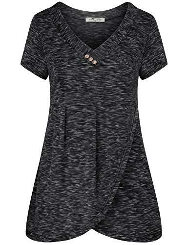 SeSe Code Asymmetrical Tops for Women,Tee Shirts Womens Short Sleeve Wrap Shirt A Line Pleated Front Casual Daily Wearing Relaxed Fit Space Dye Black X-Large