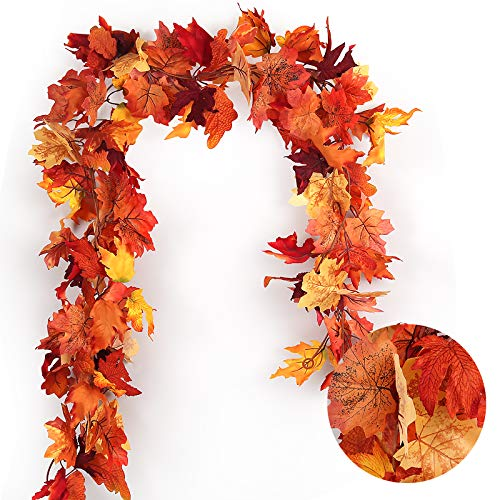 RECUTMS 2 Pcs Artificial Autumn Maple Leaves Garland – 5.8 FT/Pcs Hanging Fall Leaves Vines Hanging Plants Colorful Fall…