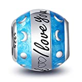 YFN Sterling Silver Charms with Cubic Zirconia European Bead for Bracelet Necklace (I Love you to the Moon and Back)