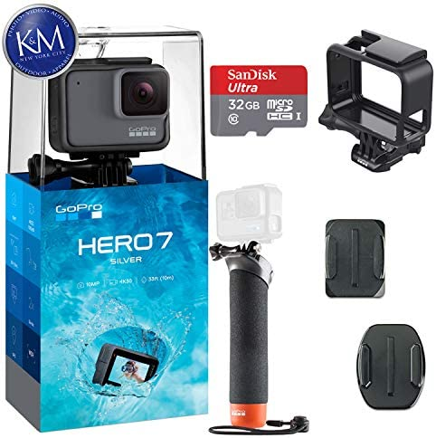 GoPro Hero 7 Silver Action Camera w 32GB Memory and Floating Grip Bundle