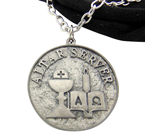 Price comparison product image Altar Server Pendant 1 1/2 Inch Long Round Metal Medallion with Chain & Gift Bag