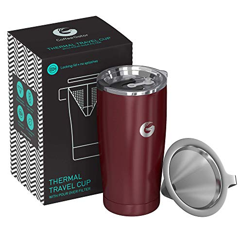 - Coffee Gator Pour Over Coffee Maker - All in One Thermal Travel Mug and Brewer - Vacuum Insulated Stainless Steel - 20 ounce - Red
