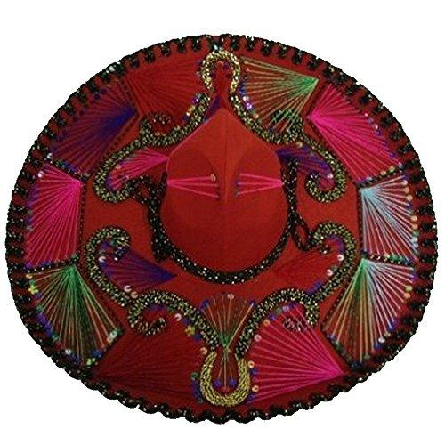 Red Mexican Charro Mariachi Hat Sombrero Multicolor Trim ...