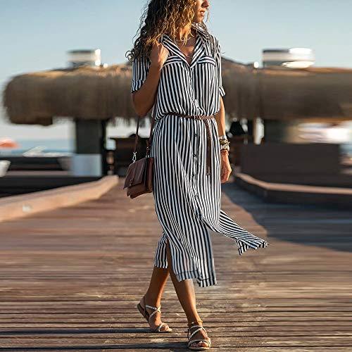 JESPER Women Stripe Printed Long Sleeves Button Bandage Belt Shirt Long Dress US 4/6 Black by JESPER (Image #2)