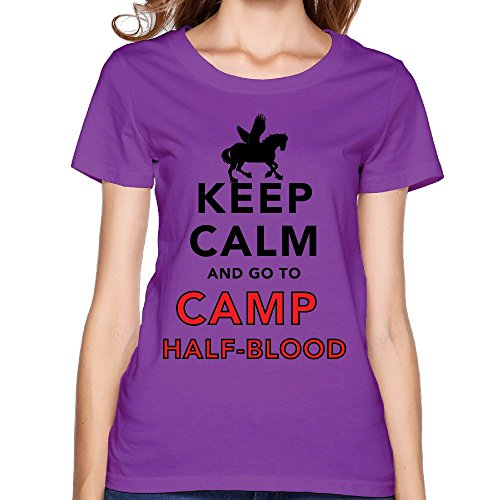 Women's Keep Calm And Go To Camp Half Blood T Shirt Purple (Logan Lerman Merchandise compare prices)