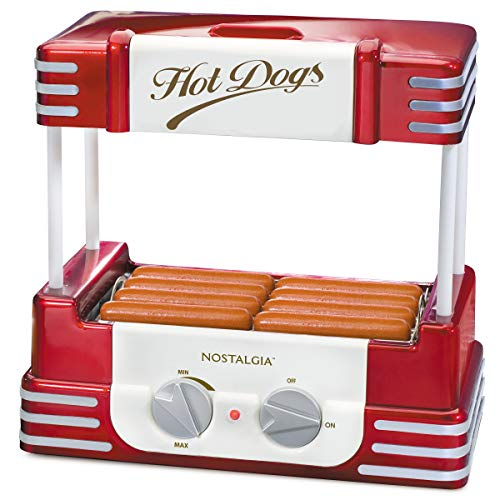 Nostalgia RHD800 Hot Dog Roller and Bun Warmer, 8 Hot Dog and 6 Bun Capacity