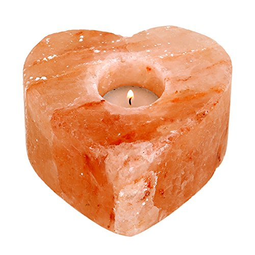 Himalayan Salt lamps, Natural Hand Carved Heart Shaped Candle Holder, Best Gift...