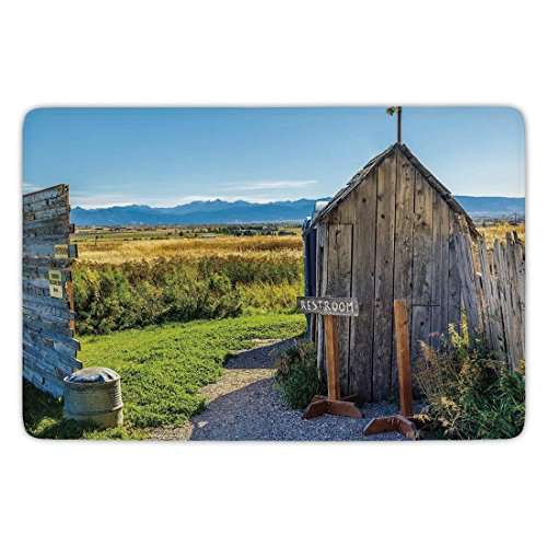 Bathroom Bath Rug Kitchen Floor Mat Carpet,Outhouse,Old Rustic Wooden Cottage Barn Shed in a Farm Village Image,Dark Grey Green and Sky Blue,Flannel Microfiber Non-slip Soft Absorbent For Sale
