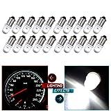 CCIYU 20 Pack Xenon White BA9S LED Lamp Instrument Cluster Gauge Dash Light Bulbs Bayonet For Dashboard Gauge Speedometer Odometer Map light 53 53X 57 216 293 363 3886X