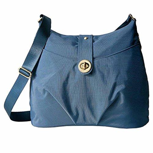 Baggallini Helsinki Slim Light Sholder Hobo Bag Crossbody w Key Chain (Slate Blue)