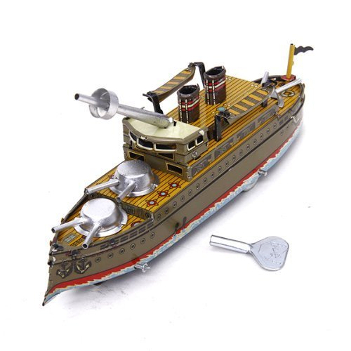 Battleship Espana, Metal Boat Winds Up, Steel Tin Toy Collection, Size : 8