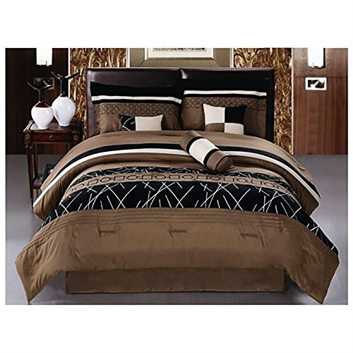 Luxlen 7 Piece Embroidered Comforter Set, Queen, Closeout, B
