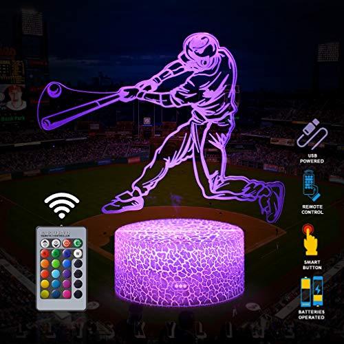 3D Baseball Man Lamp Led Illusion Night Light with Remote & Flashing Modes,Best Birthday Christmas Graduation Gifts Ideas Baseball Presents for Boys Girls Kids(Baseball Man-2)