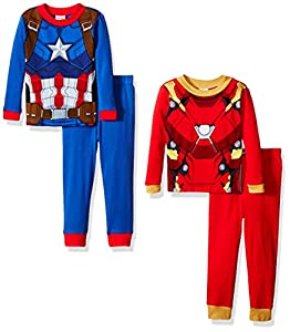 Marvel Boys' Captain America and Iron Man Uniform 4-Piece Pajama Set