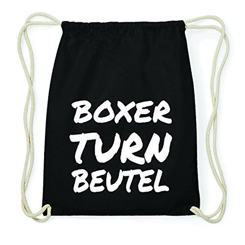 JOllify BOXER Hipster Turnbeutel Tasche Rucksack aus Baumwolle - Farbe: schwarz Design: Turnbeutel 7GUB19c