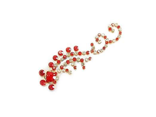 Large Red Indian Bridal Wedding Bindi Crystal Belly Dance Body Sticker Jewelry