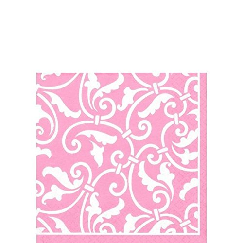 Party Ready Ornamental Scroll Beverage Napkins Tableware, Pink, Paper , 5