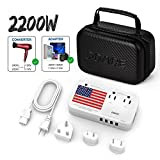 2019 Upgraded DOACE 2200W Voltage Converter Power 10A Travel Adapter, 220V to 110V, 6A 4-Port USB and UK/AU/US/EU Worldwide Plug Adapter for Hair Dryer Steam Iron Laptop MacBook Cell Phone (Handbag)