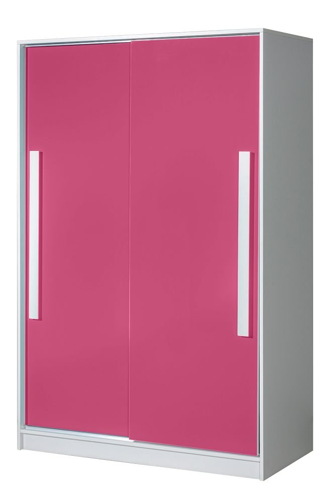 Kinderzimmer - Schiebetürenschrank/Kleiderschrank Walter 12, Farbe: Weiß/Rosa Hochglanz - 191 x 120 x 60 cm (H x B x T)