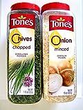 Tones Chopped Chives 1.12 Oz Shaker & Minced Onion 15 Oz Shaker