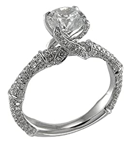 0.95ctw. Round Diamonds 14k White Gold Semi-Mount Engagement Ring