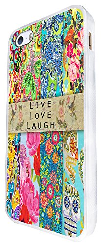 584 - Sugar Skull Floral Shabby Chic Roses Live Love Laugh Design iphone SE - 2016 Coque Fashion Trend Case Coque Protection Cover plastique et métal - Blanc