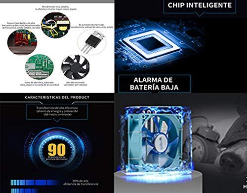 LIDER.-200W400W Inversor de Corriente Onda sinusoidal con Alarma de bateria, convertidor DC 12A a AC220V para Coche con 2 Salidas USB 5V/1.A -2.1A, ...