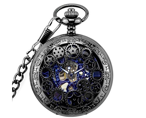 LYMFHCH+Steampunk+Blue+Hands+Scale+Mechanical+Skeleton+Pocket+Watch