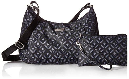 Pockets Zippered Black Wristlet Bag Print Roomy RFID Baggallini Hobo and Diamond with Crossbody �C Removable Slim Purse Lightweight FxZvwz
