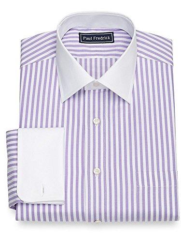 Paul Fredrick Men's Cotton Bengal Stripe French Cuff Dress Shirt Lavender 18.0/35